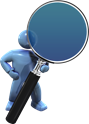 Istock 6714851 - 3D character holding magnifying glass search