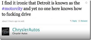 Chrysler Autos offensive tweet