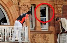 Broken window at Lord's Cricket pavillion