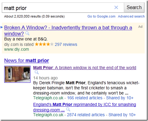 Search results for Matt Prior