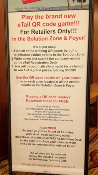 Instructions for complicated retailer QR code prize draw