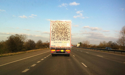 QR code on back of lorry on motorway