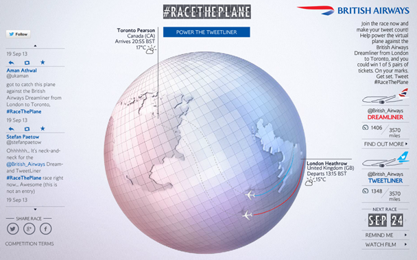 Race the Plane microsite